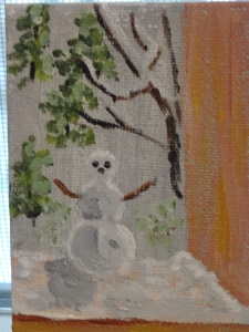 Tiny painting of tiny snowman