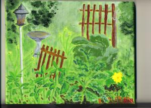 Garden with Squash Blossom